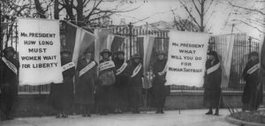 Silent Sentinels women's suffrage picketers outside the White House, 1919.